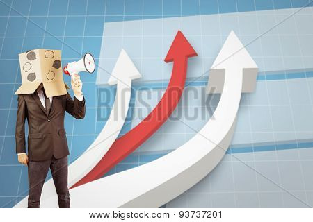 Anonymous businessman holding a megaphone against digital background with arrows going down