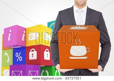 Businessman standing with hands out against coffee app