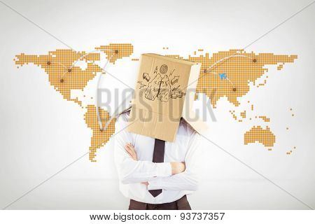 Anonymous businessman with arms crossed against world map with lines