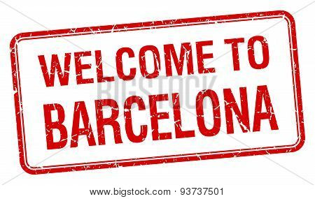 Welcome To Barcelona Red Grunge Square Stamp