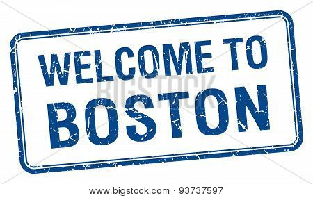 Welcome To Boston Blue Grunge Square Stamp