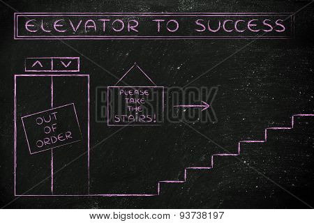 Out Of Order Elevator To Success, Please Take The Stairs
