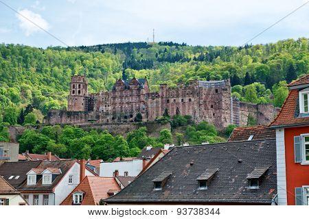 View of Historic Heidelberg Castle on Hill Overlooking Old Town Rooftops, Heidelberg, Baden-Wurttemberg, Germany