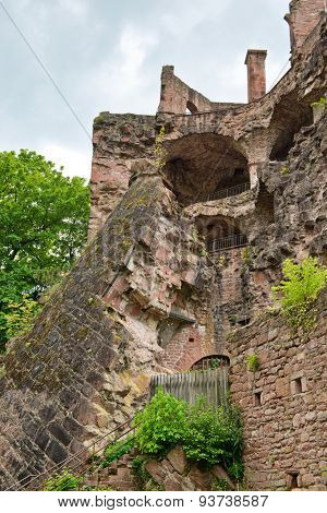 Looking Up at Ruins of Destroyed Heidelberg Castle Tower, a Historic Tourist Attraction in Heidelberg, Baden-Wurttemberg, Germany