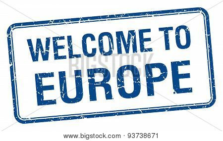Welcome To Europe Blue Grunge Square Stamp
