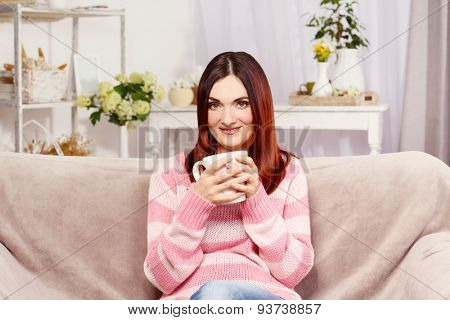 Beautiful middle aged woman at home