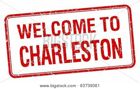 Welcome To Charleston Red Grunge Square Stamp