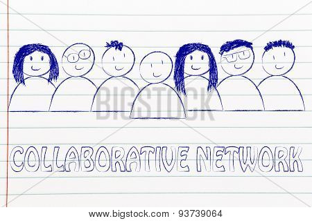 Happy Diverse People Composin A Group Of Collaborative Network