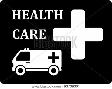 black icon with ambulance car