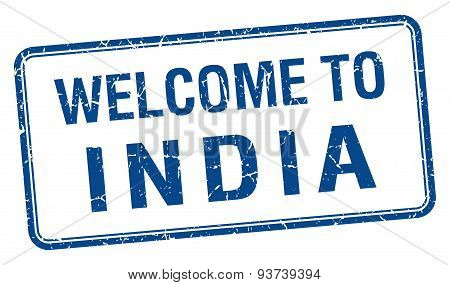 Welcome To India Blue Grunge Square Stamp