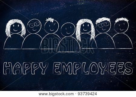 Group Of Happy And Diverse People, Happy Employees