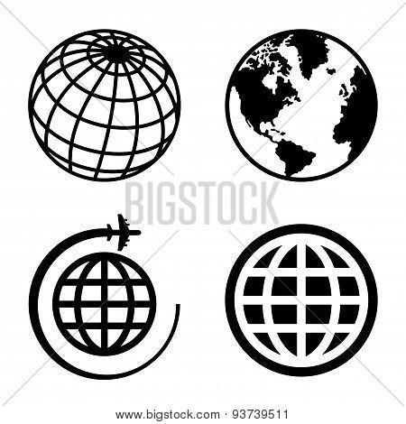 Earth Globe Icons Set.