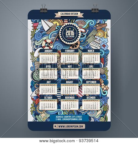 Doodles marine Calendar 2016 year design