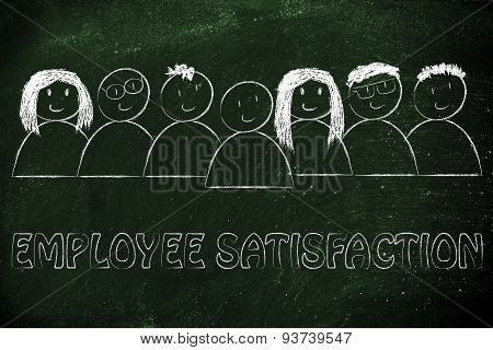 Group Of Happy And Diverse People, Employee Satisfaction