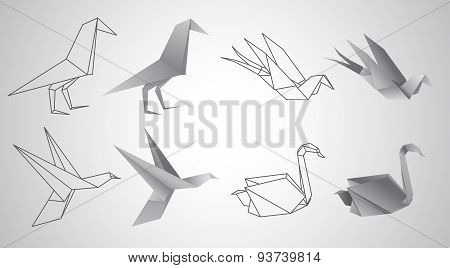 Origami birds vector set