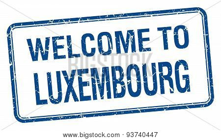 Welcome To Luxembourg Blue Grunge Square Stamp
