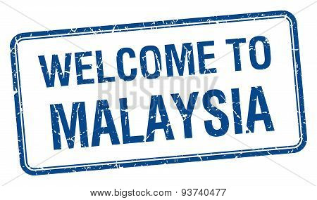 Welcome To Malaysia Blue Grunge Square Stamp