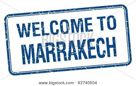 Welcome To Marrakech Blue Grunge Square Stamp