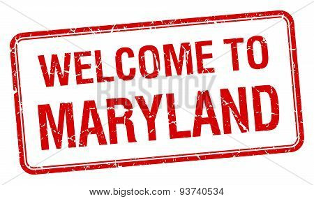 Welcome To Maryland Red Grunge Square Stamp