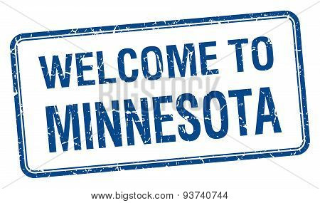 Welcome To Minnesota Blue Grunge Square Stamp