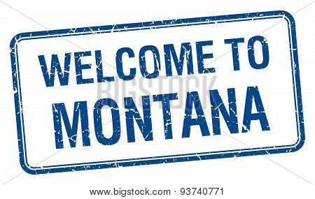 Welcome To Montana Blue Grunge Square Stamp