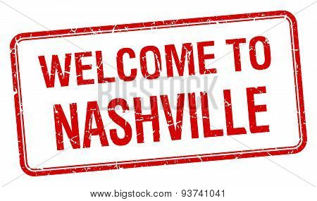 Welcome To Nashville Red Grunge Square Stamp
