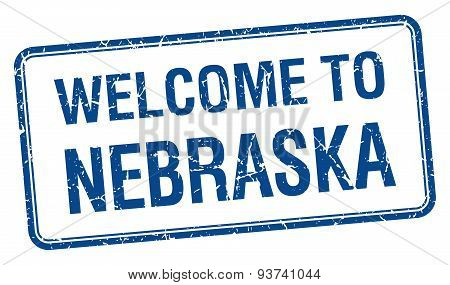 Welcome To Nebraska Blue Grunge Square Stamp