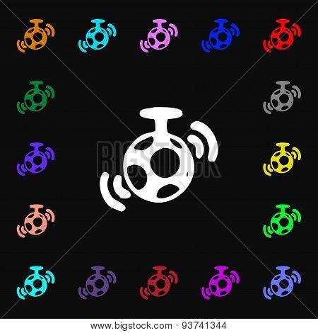 Mirror Ball Disco Icon Sign. Lots Of Colorful Symbols For Your Design. Vector
