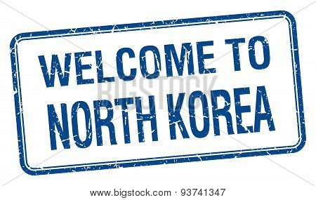 Welcome To North Korea Blue Grunge Square Stamp