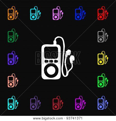 Mp3 Player, Headphones, Music Icon Sign. Lots Of Colorful Symbols For Your Design. Vector