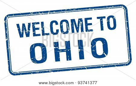 Welcome To Ohio Blue Grunge Square Stamp
