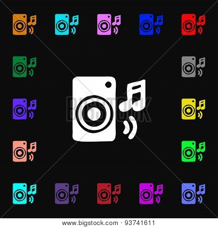 Music Column, Disco, Music, Melody, Speaker Icon Sign. Lots Of Colorful Symbols For Your Design. Vec
