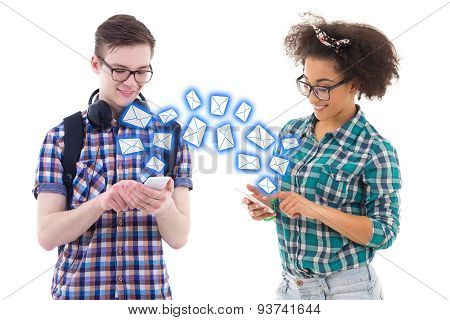 Teenage Boy And Girl Sending Sms Messages Each Other Isolated On White