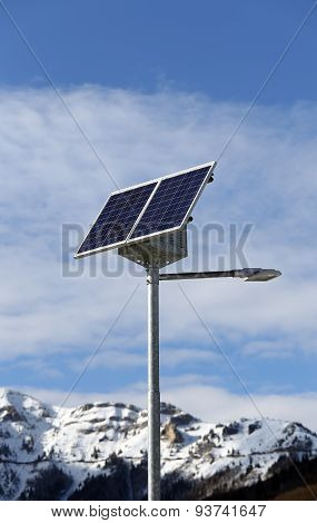 Solar Energy Street Lamp With The Last Generation Photovoltaic Cells In A Mountain