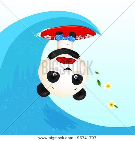 Little cute panic surfer panda in wave tube