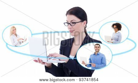 International Business Concept - Young Business Woman Talking With Her Partners Isolated On White