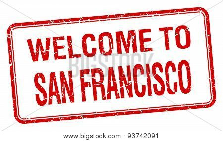 Welcome To San Francisco Red Grunge Square Stamp