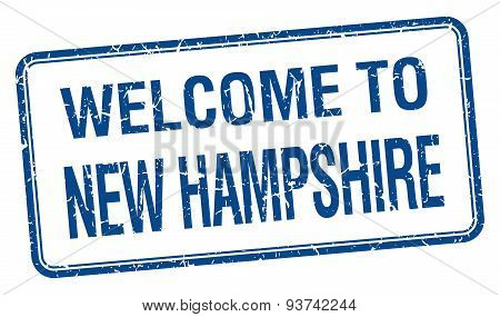 Welcome To New Hampshire Blue Grunge Square Stamp