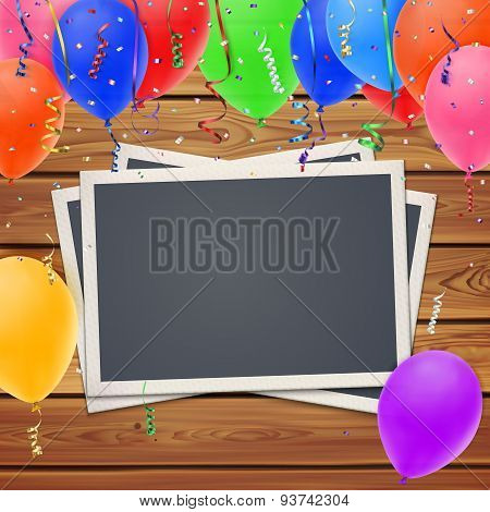 Celebration background,with photo frames and balloons.