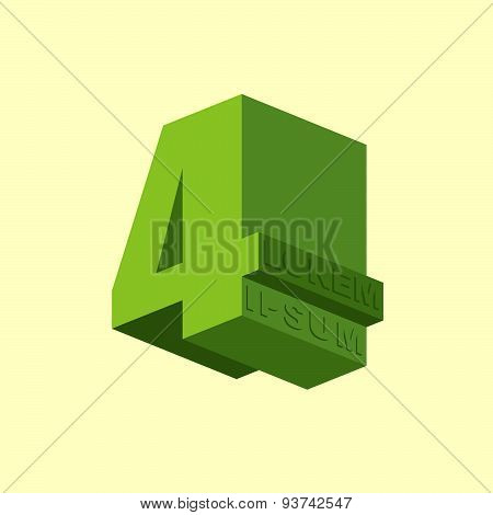 4, Number four. Logo of  figure four. Vector design template elements