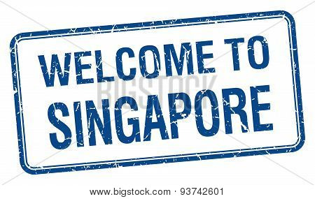 Welcome To Singapore Blue Grunge Square Stamp