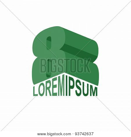 logo 8. Green  number eight 3D. Vector design template elements
