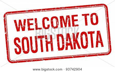 Welcome To South Dakota Red Grunge Square Stamp