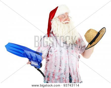 Santa Claus resting on vacation, isolated on white