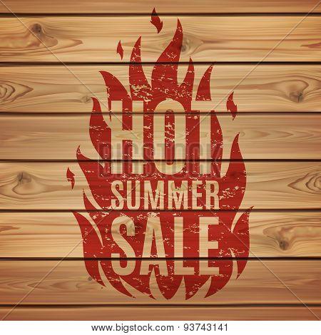 Hot summer sale. Fire print wooden planks.