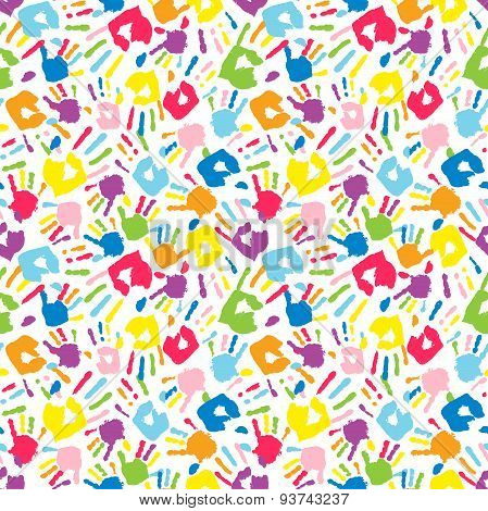 Multicolor Different Handprints, Seamless Pattern