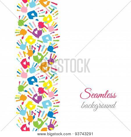 Colorful Hands. Seamless Border Background.