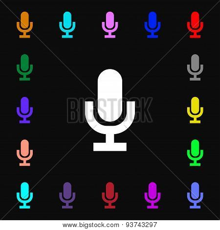 Microphone Icon Sign. Lots Of Colorful Symbols For Your Design. Vector