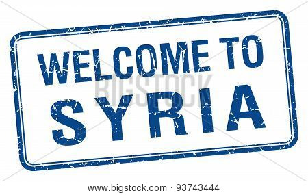 Welcome To Syria Blue Grunge Square Stamp