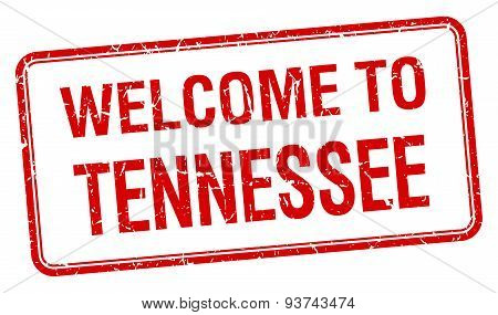 Welcome To Tennessee Red Grunge Square Stamp